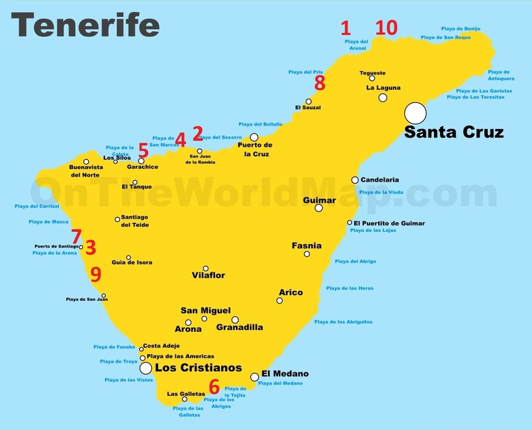 Carte de Tenerife des piscines naturelles